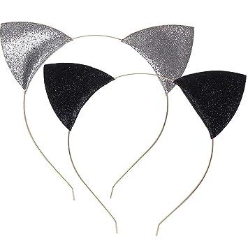 Juego de 2 diademas con orejas de gato, de Wowot, con purpurina, para uso diario o decoración de fiestas: Amazon.es: Deportes y aire libre