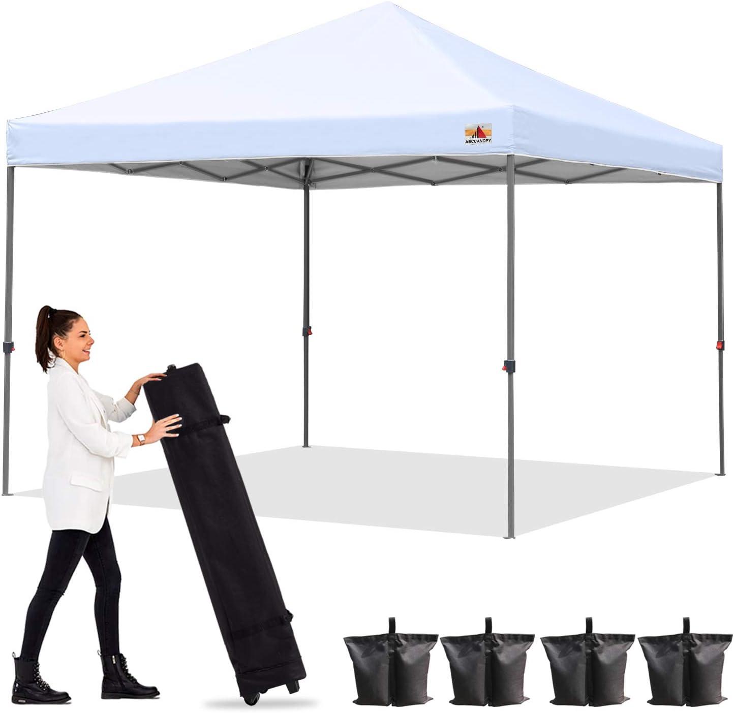 ABCCANOPY 6X6 Pop-Up Canopy Tent Sun Protection Comapct and Lightweight Beach Canopy Slant Leg Backpack Canopy,Grey
