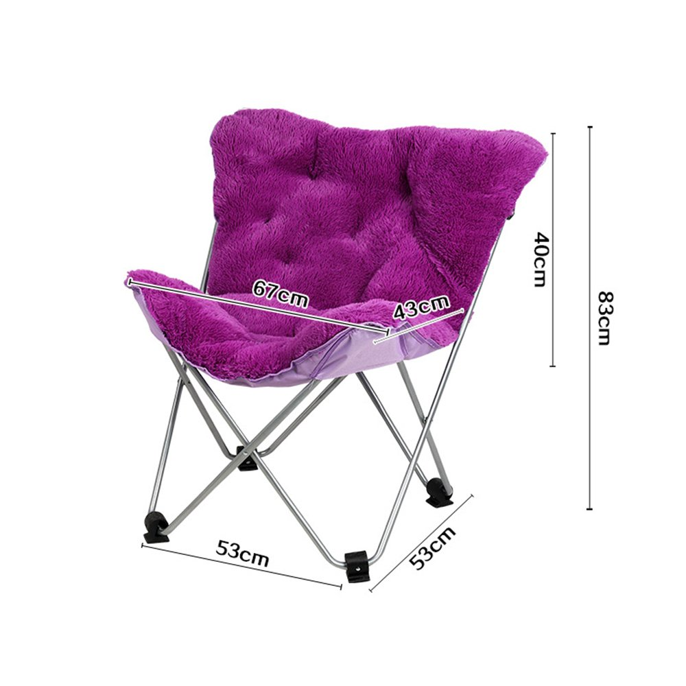Purple Butterfly Chair Simple Leisure Folding Chair Lounger Sofa Chair Lounge Chair Moon Chair (color   White)