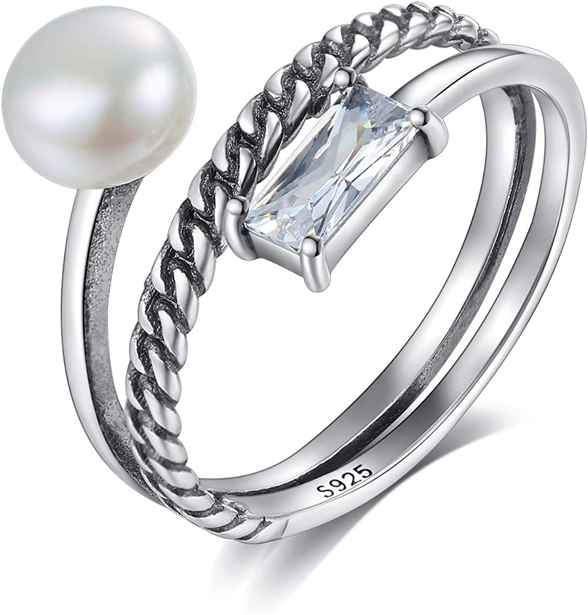 Kämise - Anillo de plata de ley 925 con 3 capas de perlas y circonitas cúbicas para mujer, con cierre de cuerda, ajustable, con caja de regalo