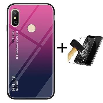 PANXIYUE Funda Xiaomi Mi A2 Lite,Carcasas de Vidrio en Color ...