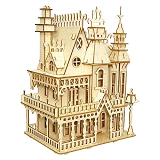 Three-Dimensional Puzzle, Wooden Dream Villa 3D Three-Dimensional Puzzle Puzzle Boy and Girl Educational Toys Ornaments Creative Gifts. QIQI