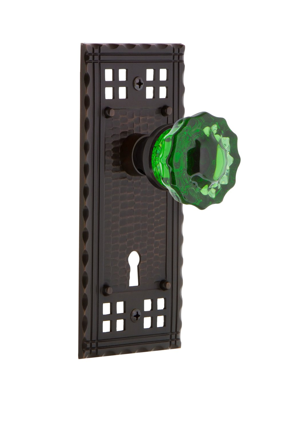 Privacy 2.375 Nostalgic Warehouse Craftsman Plate with Keyhole Crystal Emerald Glass Door Knob Antique Pewter