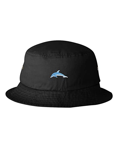 56cd6e8e0f3cd Amazon.com  One Size Black Adult Dolphin Embroidered Bucket Cap Dad ...