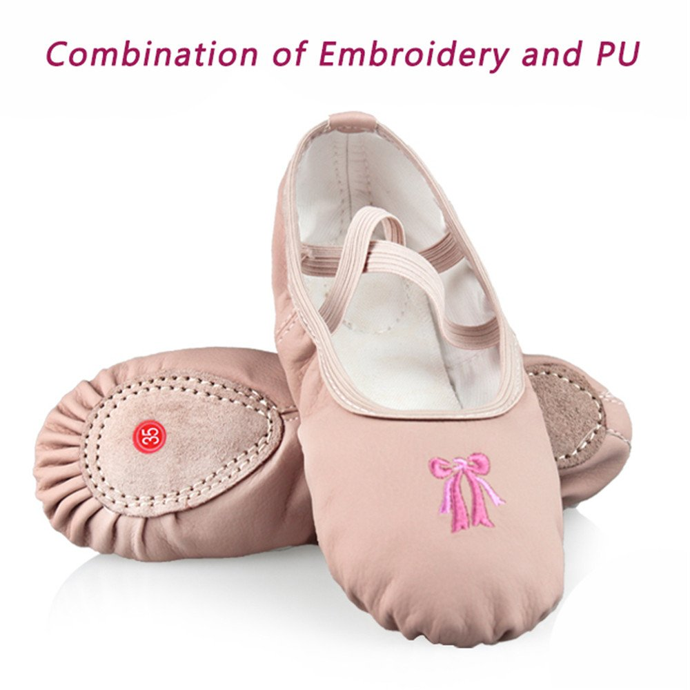IFANS Classic PU Bow Embroidery Soft Ballet Slipper Shoes for Kids//Child//Teenager