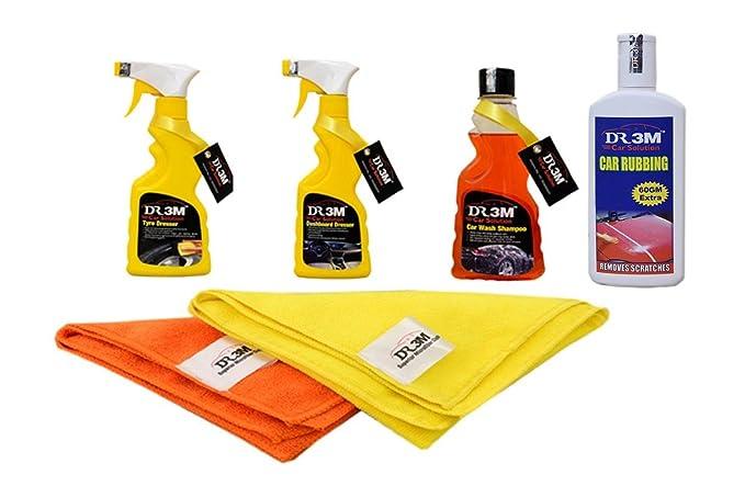 TYRE Dresser 250ML.+Dashboard Dresser 250ML+CAR WASH Shampoo 250ML.+CAR RUBBING 200GM+ 2pc.CAR Microfiber Cloth Orange,Yellow.