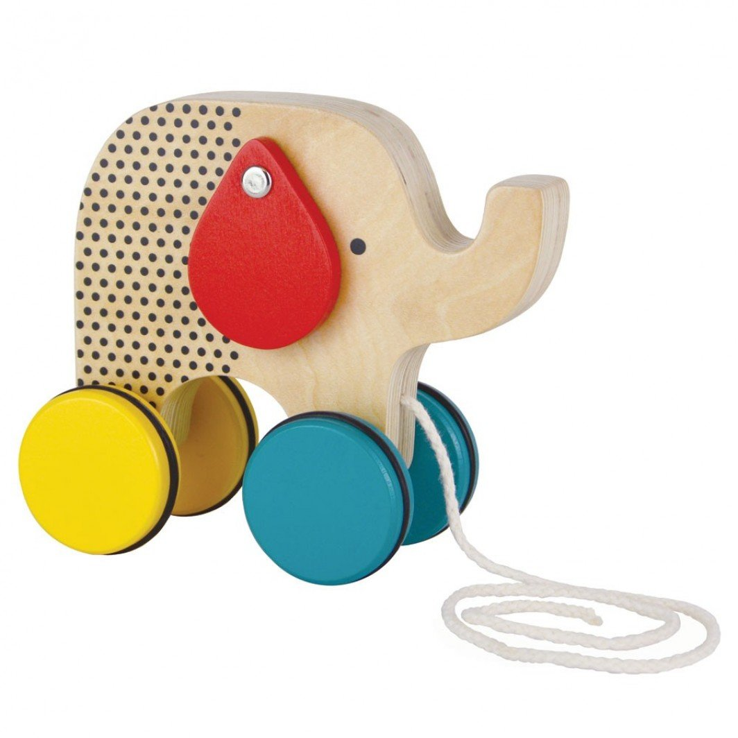 Reclaimed Wood Small Wooden Elephant Push Toy