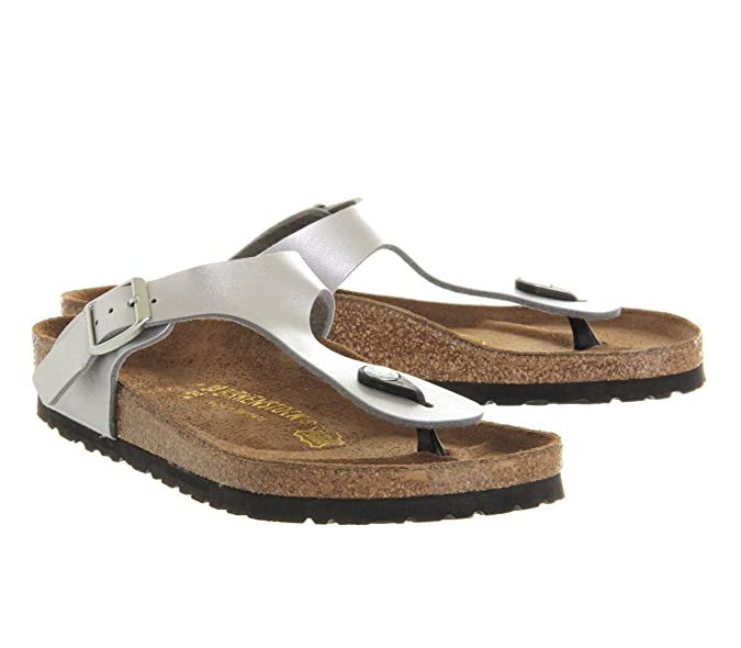 e36309dd6d50 Birkenstock Toe Thong Footbed Silver Syn - 7 UK  Amazon.co.uk  Shoes   Bags