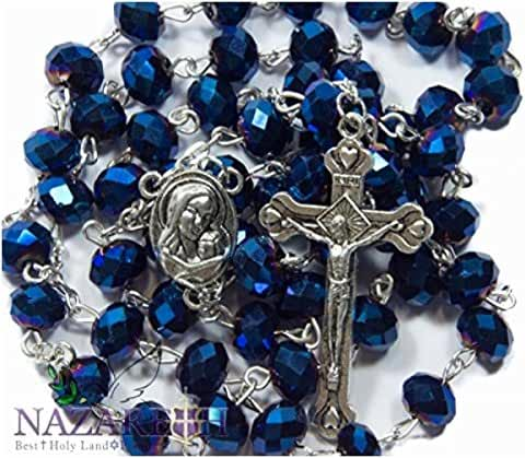 Deep Blue Crystal Beads Rosary Catholic Necklace Holy Soil Medal & Crucifix