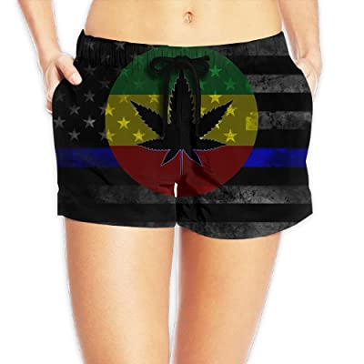 CHUNGCINVI Blue Line American Flag Marijuana Leaf Women Comfortable Drawstring Waist Shorts Quick Dry Swim Trunks