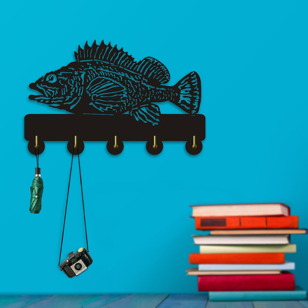 Rock Fish Shape Design Sea Animals Creative Wall Decor Art Wall Hooks Clothes Coat Towel Hooks Keys Holder Bathroom Kitchen Hanger Decor Hooks by The Geeky Days (Image #2)
