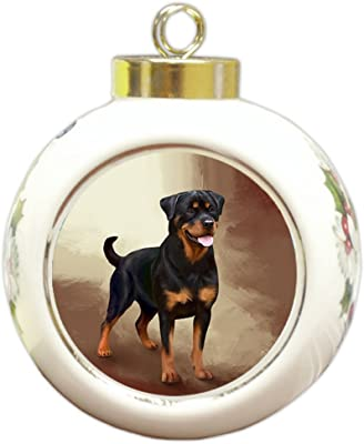 Doggie of the Day Rottweiler Dog Round Ball Christmas Ornament RBPOR48084