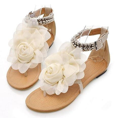 3e68065838875d LOHU Frauen Sandalen Sommer Bohemian Sandalen Dreidimensionale Blumen  Urlaub Schuhe Große Größe Sandalen 34-43