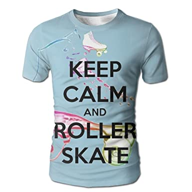 GJPLY Keep Calm and Roller Skate Unisex 3D Print Casual Short Sleeve T-Shirt  Stylish Design Mens Tee  60406ef40