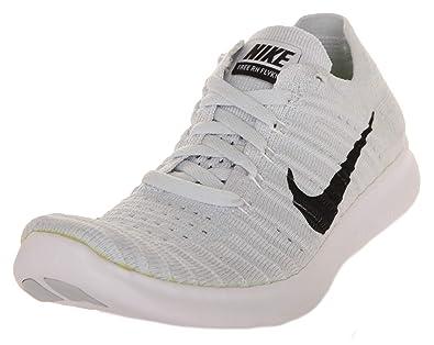 new product e9498 6adf1 Amazon.com   Nike Women s Free Running Motion Flyknit Shoes, White Black-pure  Platinum - 6 B(M) US   Running