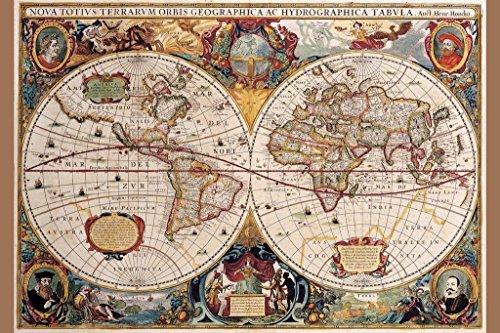 Pyramid 17th Century World Map Poster Print
