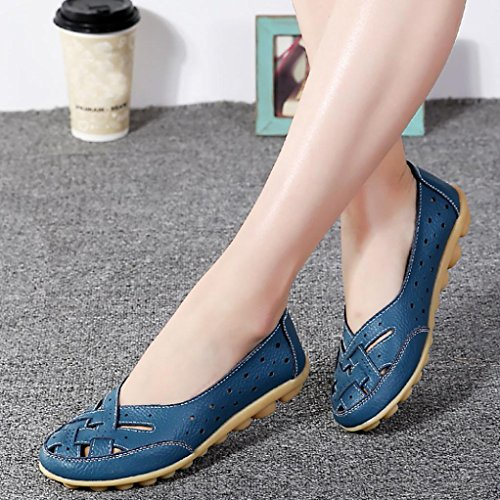 Casual Ladies Round Sandals Slip Hollow Women Flat Anti Muium Blue Leather Soft Shoes Yqac5