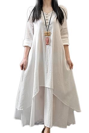 1874313af4 Women Linen Cotton Dress Casual Loose Maxi Dresses White 5XL  Amazon.co.uk   Clothing