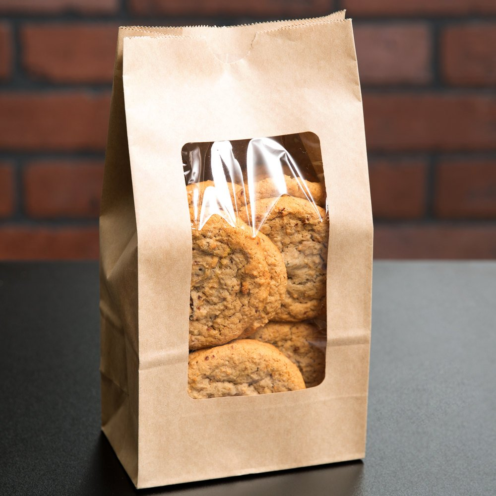 4 lb. Brown Paper Cookie / Coffee / Donut Bag with Polyethylene Window 5'' x 3'' x 9 5/8'' 1000 / Case by Choice