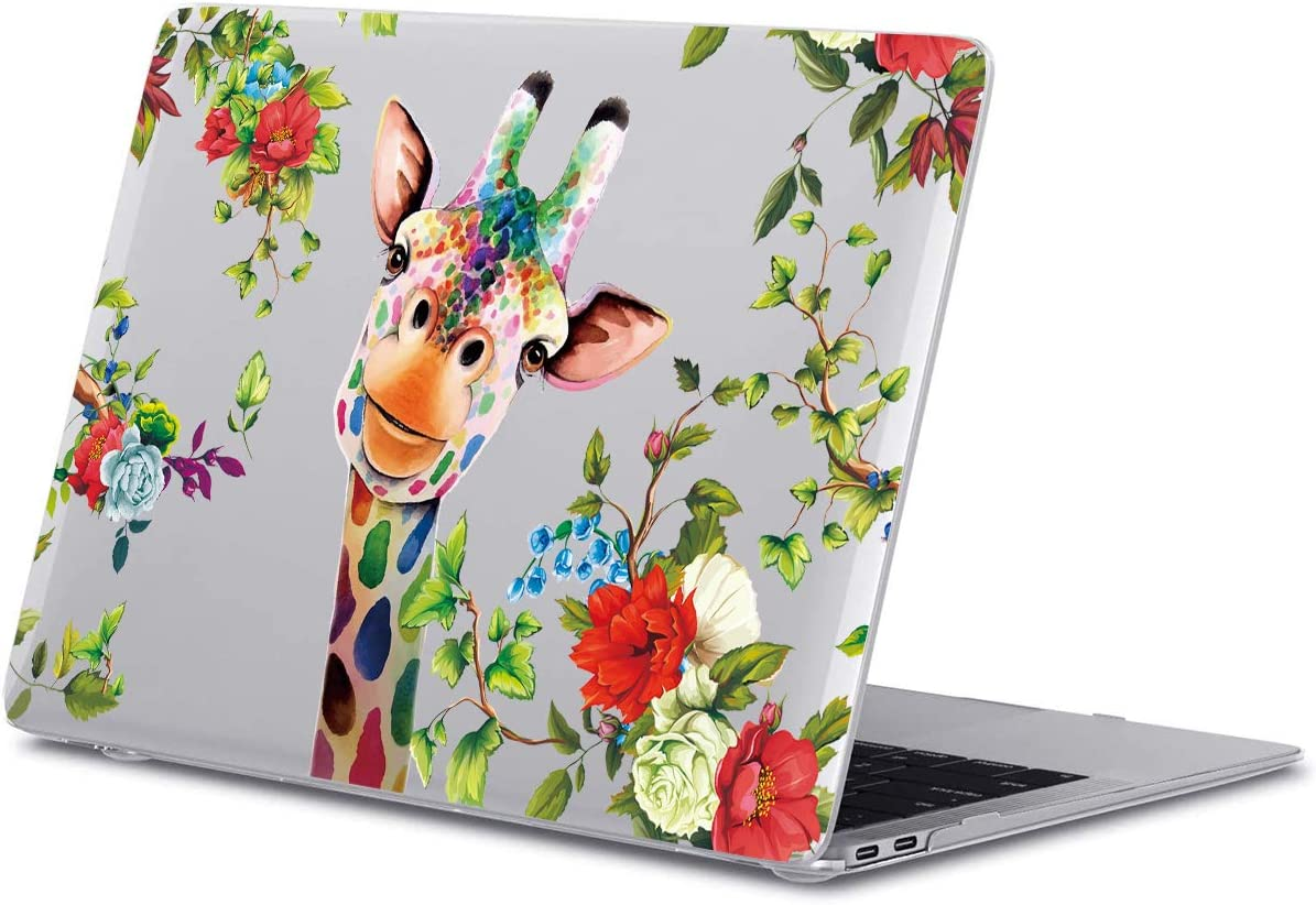 GoldSwift Cute Giraffe Blooming Blossom Floral Matte Rubberized Hard Shell Laptop Clear Case Cover for MacBook Air 13 Inch Model Number A1932/A2179