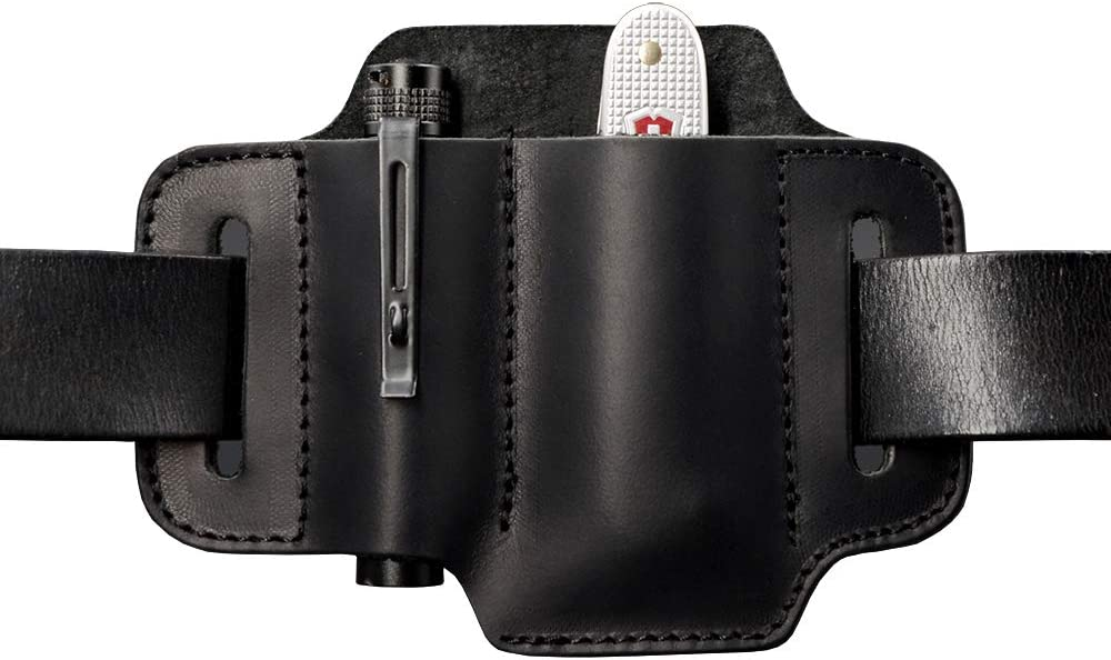 Leather Belt Loop Waist Multitool Sheath with Key Holder Axagy Multitool Leather Sheath EDC Pocket Organizer for Knife//Tool//Flashlight//Tactical Pen and EDC Gears