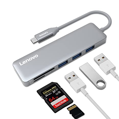 Lenovo USB C Hub, USB Type-C Adapter 3 USB 3 0 Ports SD/TF Card Reader,  Compatible For USB C Devices