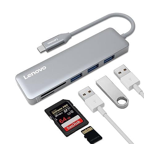Amazon.com: Lenovo USB C HUB, USB Type-C adaptador con 3 ...