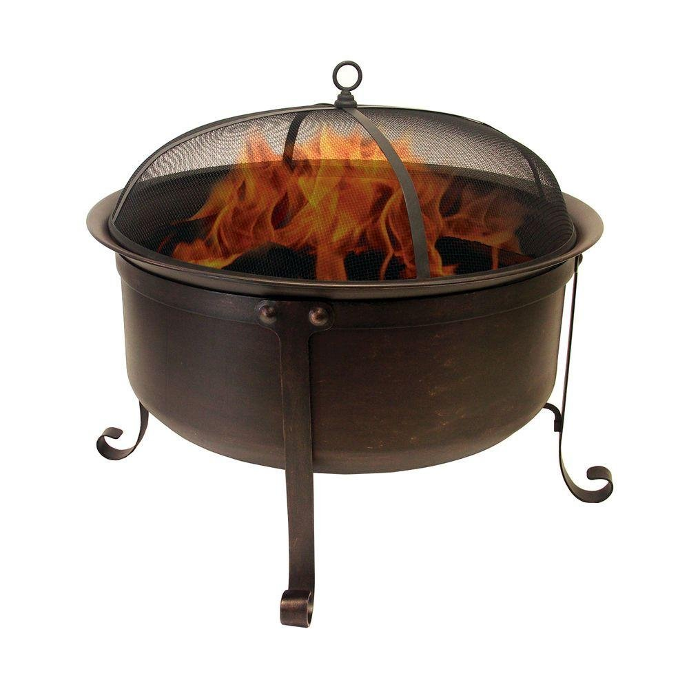 Catalina Creations Round Cauldron Wood Burning Patio Fire Pit with Oil Rubbed Bronze Finish, Mesh Spark Screen and Accessories, 34'' L x 34'' W