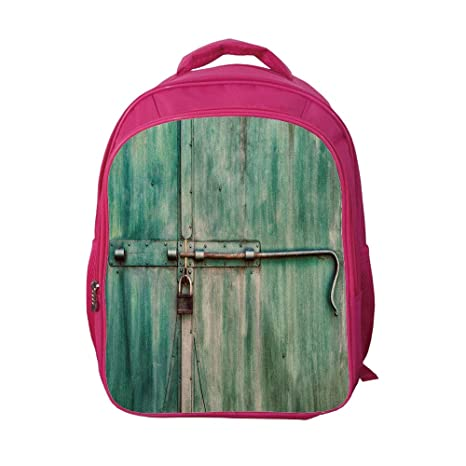 011fff8b0966 iPrint School Bags Kid's Backpacks Custom,Industrial,Aged and Closed Door  with a Lock