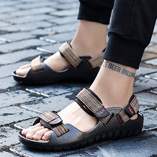 Xing Lin Sandalias De Hombre Verano Zapatillas Nuevas Sandalias Sandalias De Verano Black Khaki