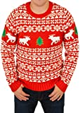 Ugly Christmas Sweater - Holiday Reindeer Pullover Sweater in Red Large By Festified