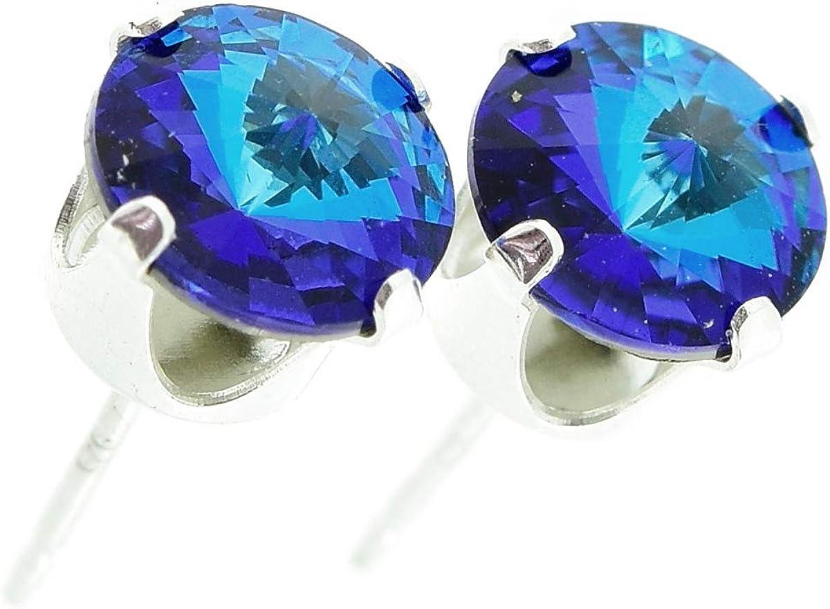 pewterhooter. Pendientes de plata de ley 925 hechos con cristal Bermuda blue brillante de SWAROVSKI® para mujer.