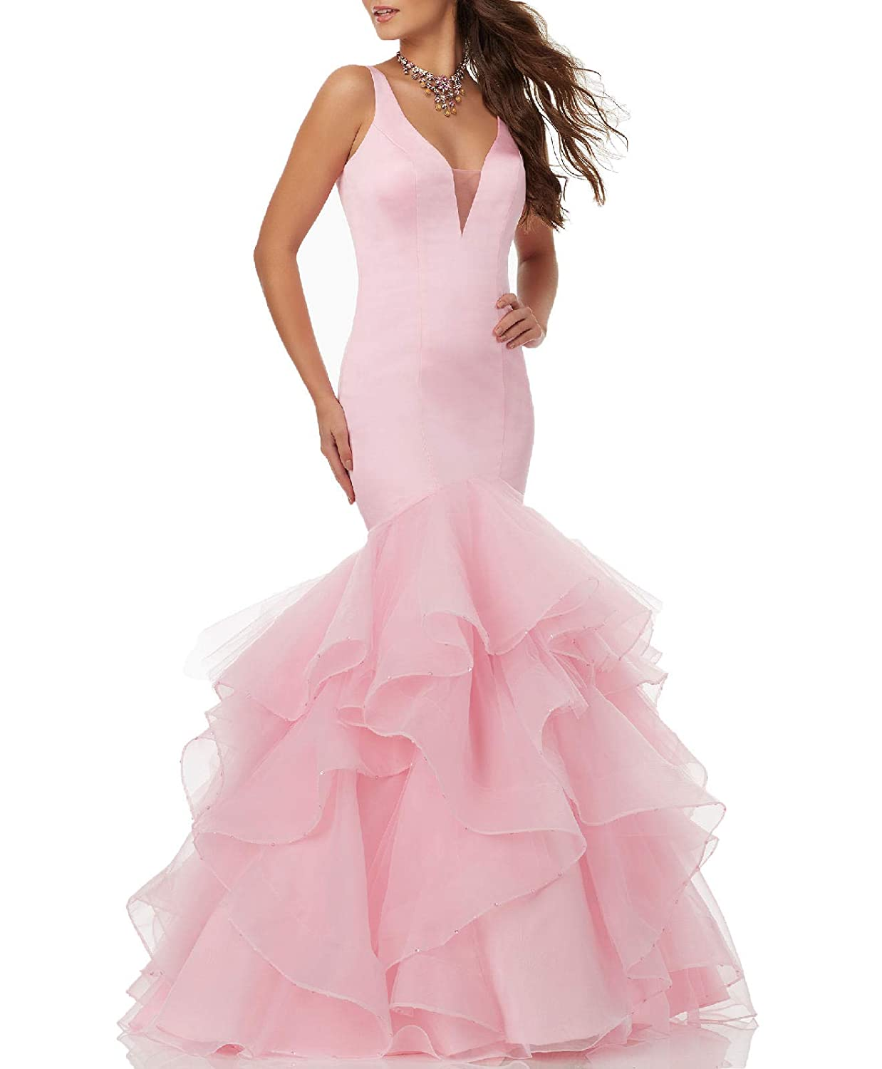 Pink Wanshaqin Women's VNeck StackUp Organza Ruffles Wedding Dresses Open Back for Bride Plus Size