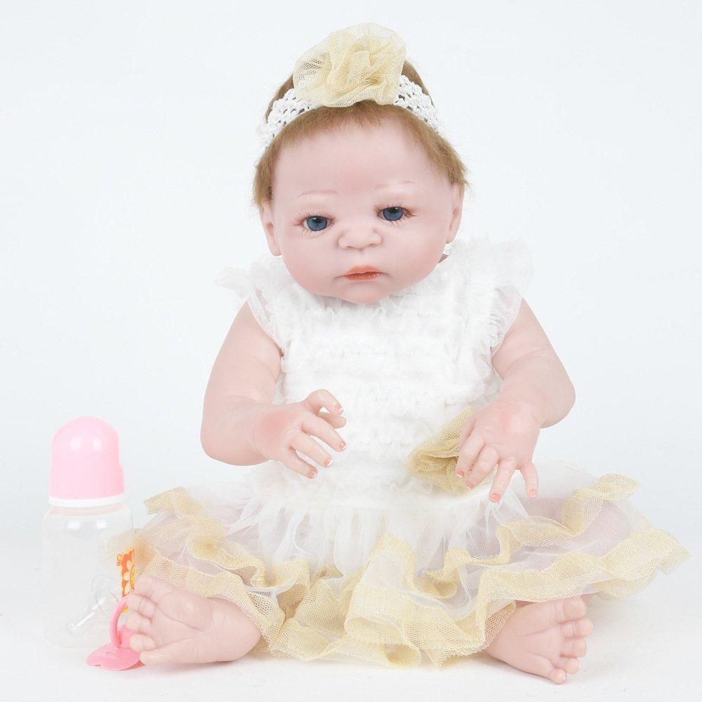 A QXMEI 55 cm Blaue Augen Baby Puppe Mädchen Simulation Reborn Silikon Große Puppe Weiche Hautfreundliche Baby Puppen Können EIN Bad Nehmen,A