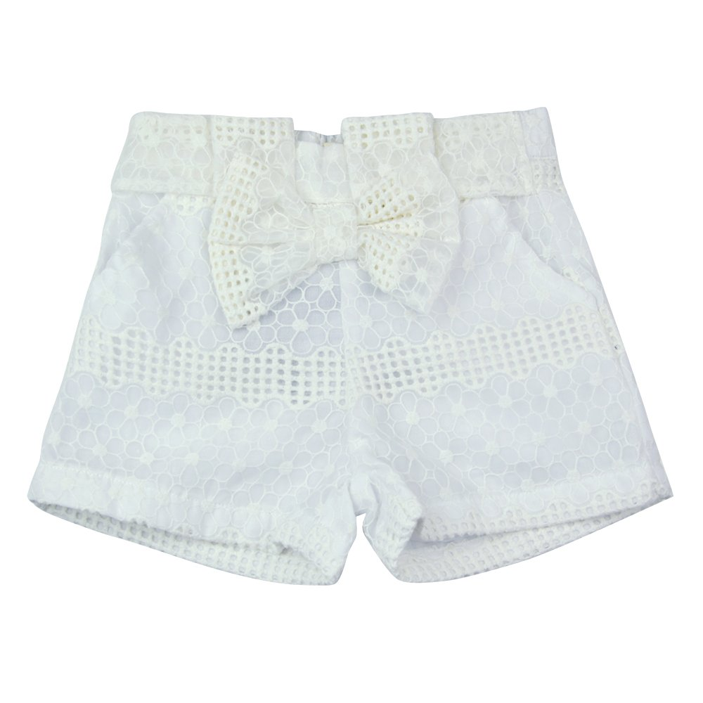 AIMBAR Kids Girls' Lovely Floral Embroidered Bowknot Elastic Waist Summer Shorts Age 4-13 Years (White, 5-6 Years)