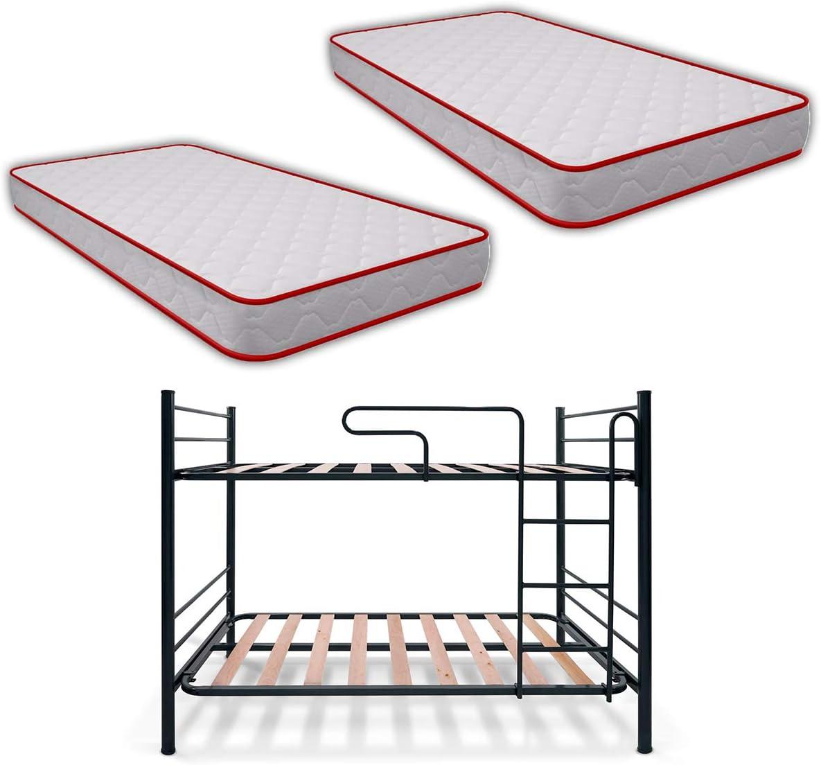 Duérmete Online - Pack Litera Metálica Junior Completa + 2 Colchones Vale Reversible, Gris, 90x190