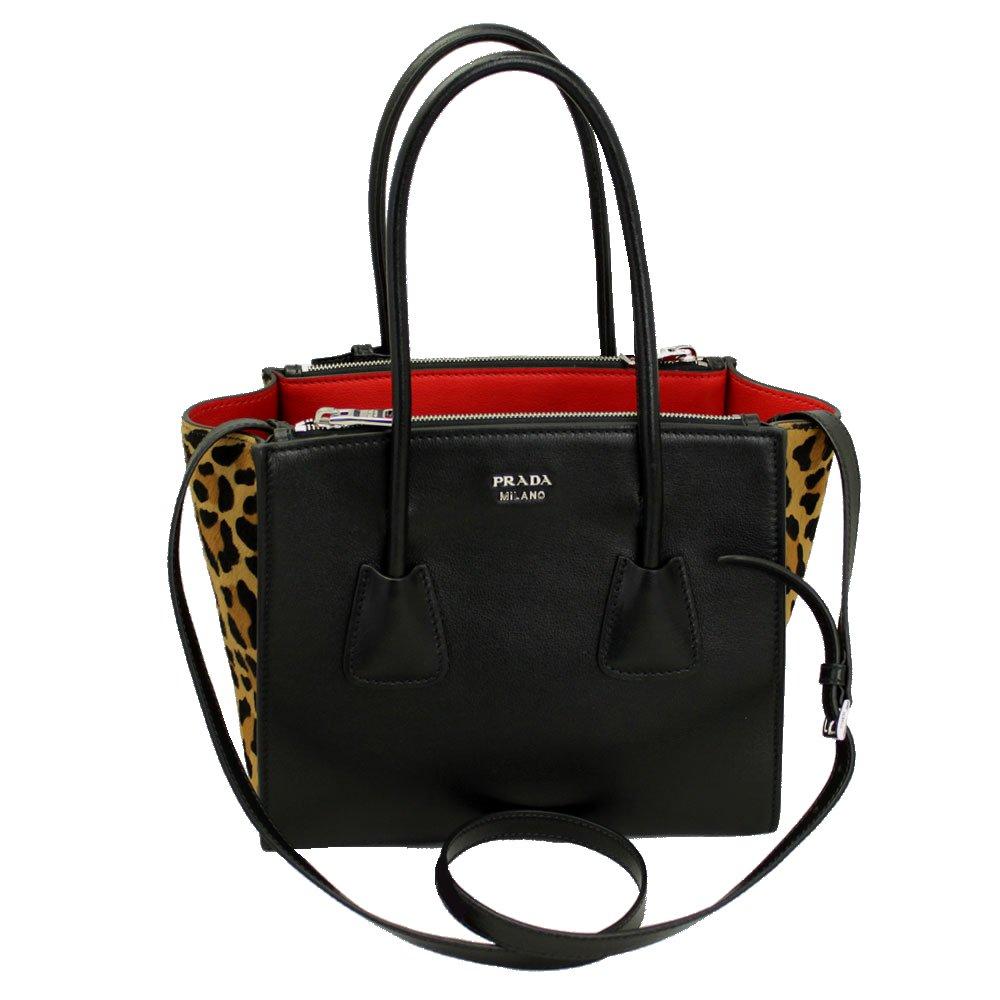 Amazon.com  Prada Black Leather Leopard Tote Bag With Shoulder Strap  1bg625  Clothing 19fb9d43e2991
