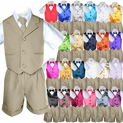 Unotux 6pc Baby Boy Toddler Khaki Formal Shorts Suit Extra Vest Bow Tie Set S-4T (M:(6-12 months), Silver)