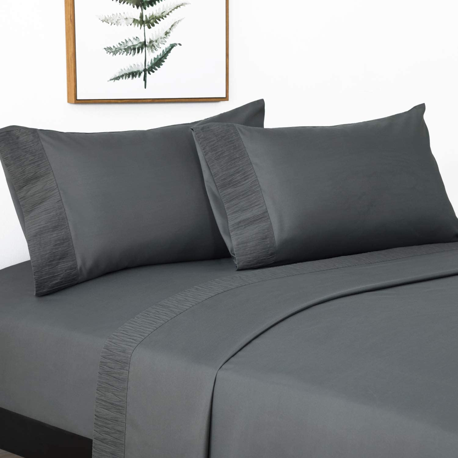 Queen, Black Wrinkle /& Fade Resistant Sfoothome Queen Sheets Set 1800 Series Bedding Set Extra Deep Pocket Hypoallergenic Sheet /& Pillow Case Set Black Hotel Luxury 4-Piece Bed Set