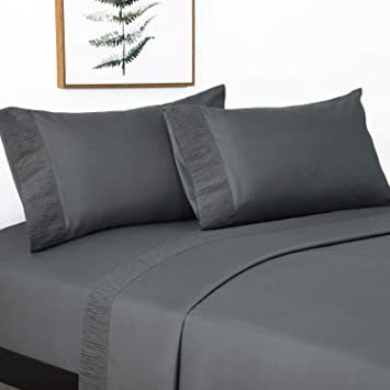 Amazon Com Bedsure Queen Size Sheets Ruffled Embossed Bed Sheet