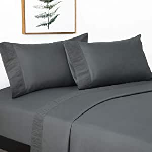 Bedsure 4-Piece King Bed Sheets Set - Soft Brushed Microfiber, Wrinkle Resistant Sheet Sets with 14 inches Deep Pocket Fitted Sheet and Pillowcases - Dark Grey