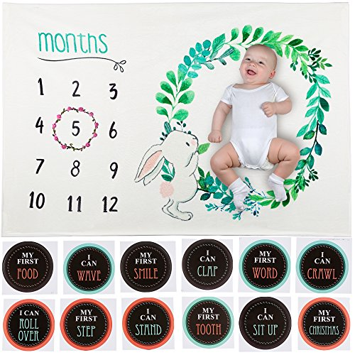 Monthly Baby Milestone Blanket by Symbiosis–Soft Fleece Baby Blanket for Boys & Girls with Flower Wreath & 12 Stickers to Showcase Baby Milestones – Best Baby Gift for Newborns, New Moms & Baby ()