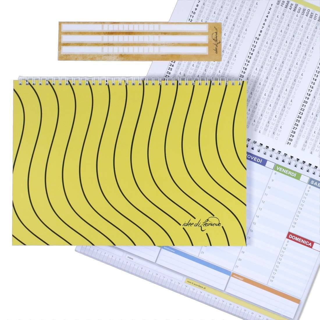 CAMPUS TIGER YELLOW Planner settimanale 30x21 agenda planner da tavolo perpetua con spirale metallica