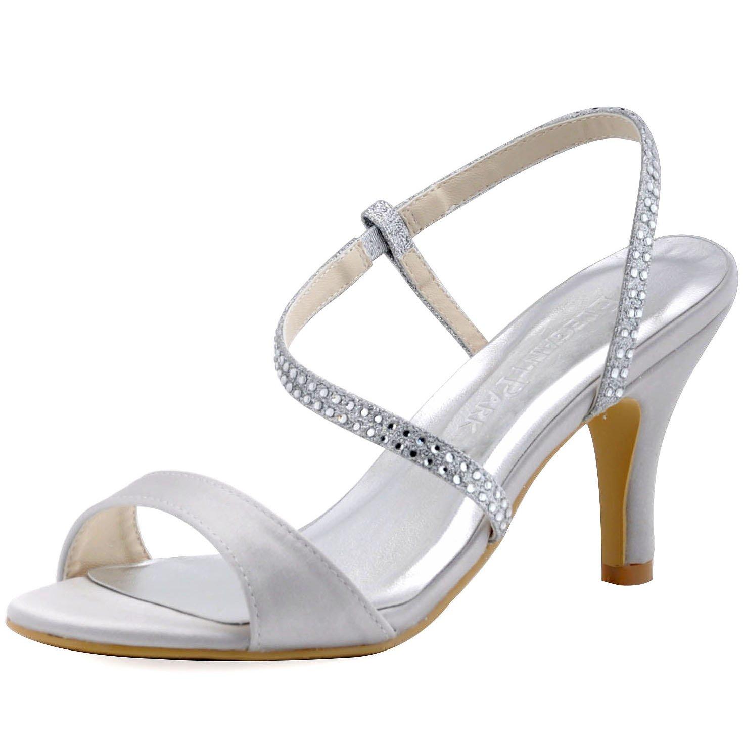 ElegantPark Diamant HP1531 Femme Diamant Bride ElegantPark Stiletto Arriere Aiguille Stiletto Sandales Argent 1fbd8b0 - jessicalock.space