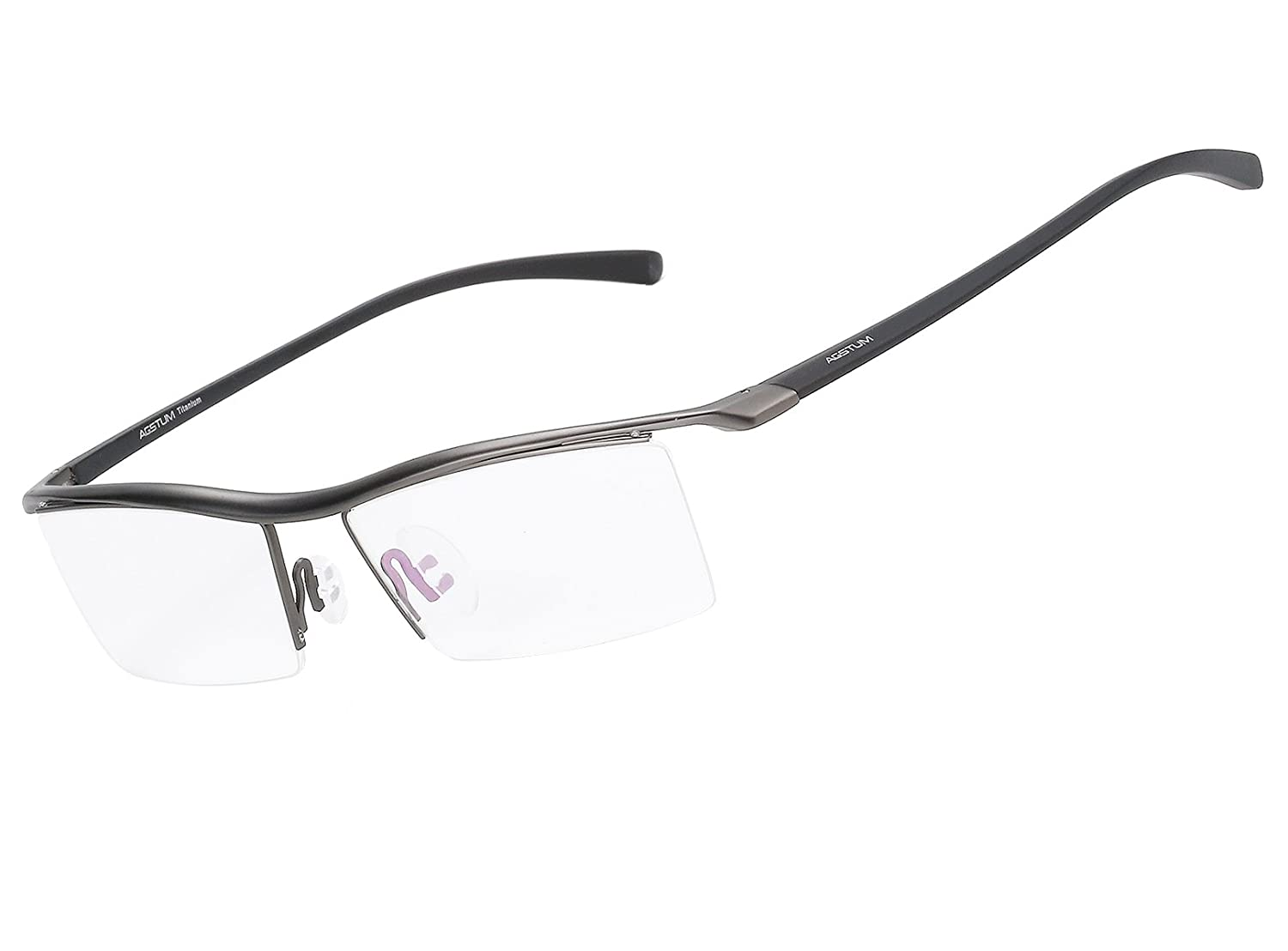 af9755a4cd Agstum Pure Titanium Half Rimless Business Glasses Frame Optical Eyeglasses  Clear Lens (Gunmetal)  Amazon.in  Clothing   Accessories