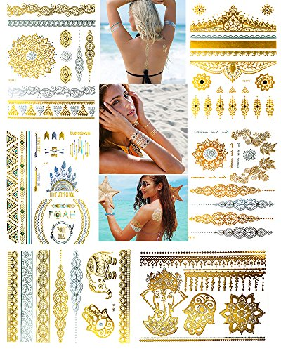 6 Sheets Silver and Gold Temporary Tattoos Paper for Women - Mandala Boho Metallic Fake Henna Tattoo - Jewelry Flowers, Elephants, Bracelets, Wrist and Arm Bands