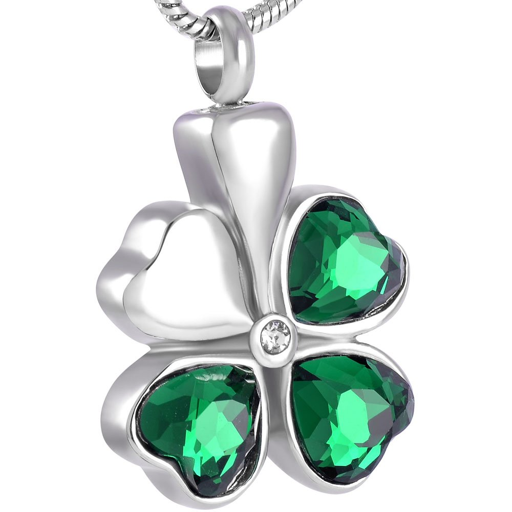 Crystal Four Leaf Clover Cremation Jewelry for Ashes Memorial Keepsake Pendant Urn Necklace with ball chain Constanlife Jewelry 8451