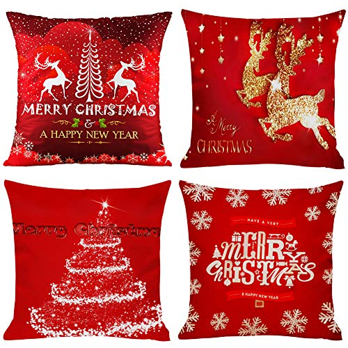 4 PCS Christmas Pillow Covers, 18 x18 inch Red Xmas Cushion Covers,Christmas Cotton Linen Square Pillow Covers Christmas…