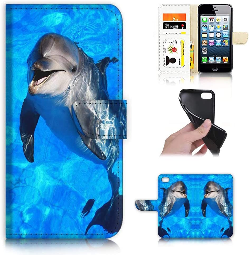 for iPhone 6, iPhone 6S, Designed Flip Wallet Phone Case Cover, A21798 Dolphin Blue Sea 21798