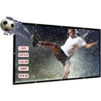 Festnight H120 120'' Portable Projector Screen HD 16:9 White Dacron 100 Inch Diagonal Video Projection Screen Foldable Wall Mounted for Home Theater Office Movies Indoors Outdoors